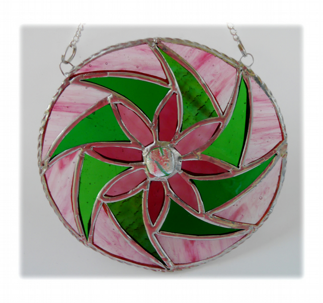 Floral Swirl Stained Glass Suncatcher Handmade 001