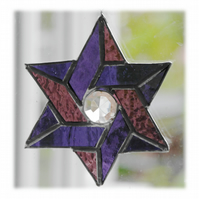 Star of David (Magen David) Suncatcher Stained Glass Purple 018