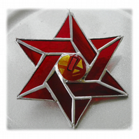 Star of David (Magen David) Suncatcher Stained Glass Rec 020