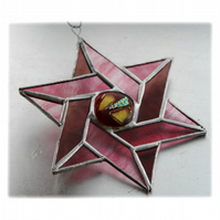 Star of David (Magen David) Suncatcher Stained Glass Pinks 019