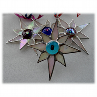 Shiny White Dichroic Star Stained Glass Suncatcher 002 Turquoise