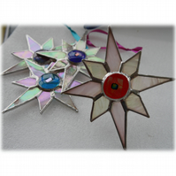 Shiny White Dichroic Star Stained Glass Suncatcher 003 Red