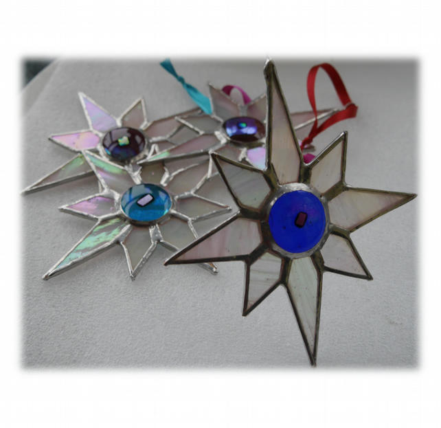 Shiny White Dichroic Star Stained Glass Suncatcher 004 Blue