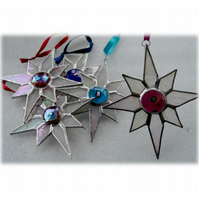 Shiny White Dichroic Star Stained Glass Suncatcher 005 Plum