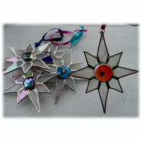 Shiny White Dichroic Star Stained Glass Suncatcher 006 Light Red