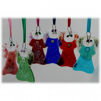 Angel HeartWing Fused Glass Hanging Decoration