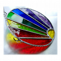 Framed Rainbow Suncatcher Stained Glass Handmade Ring 002