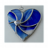 Blue Swirl Heart Stained Glass Suncatcher 022