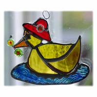 Duckling Suncatcher Stained Glass Yellow duck 009