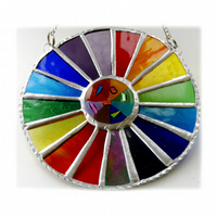 Summer Solstice Rainbow Burst Suncatcher Stained Glass Handmade 025