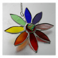 Rainbow Daisy Suncatcher Stained Glass Flower Dichroic 023