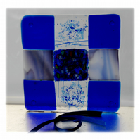 Fused Glass Trivet Trivet 16cm Dichroic Blue 019