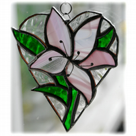 Lily Heart Suncatcher Stained Glass 007 Pink