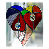 Heart of Hearts Suncatcher Rainbow Stained Glass 053