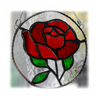 Rose Ring Suncatcher Stained Glass Red 011