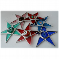 Coloured Nugget Star Stained Glass suncatcher Christmas Tree decoration