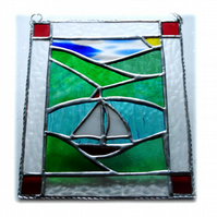 Boating Lake Suncatcher Stained Glass Framed Picture 001