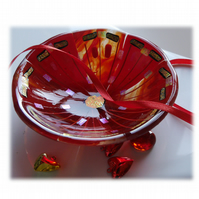 Fused Glass Bowl Round 13.5cm red Gold Dichroic 040