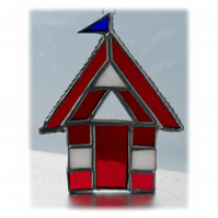 Beach Hut Suncatcher Stained Glass red 018