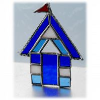 Beach Hut Suncatcher Stained Glass blue 019