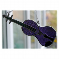 Violin Suncatcher Stained Glass Purple Music Musical Instrument 005
