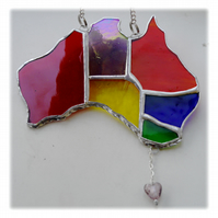 Australia Suncatcher Stained Glass Rainbow Map Oz 010