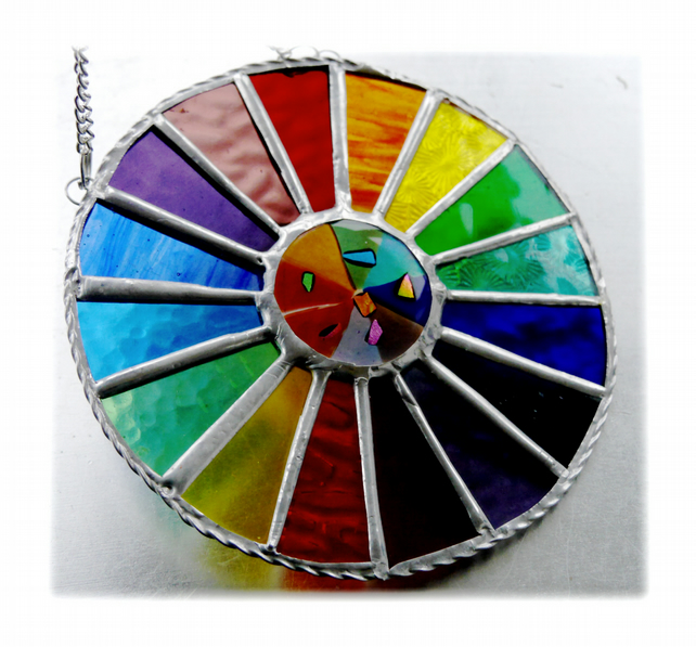 Summer Solstice Rainbow Burst Suncatcher Stained Glass Handmade 026