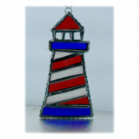 Lighthouse Suncatcher Stained Glass Handmade Red 004