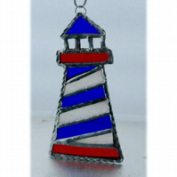 Lighthouse Suncatcher Stained Glass Handmade Blue 003