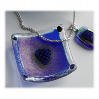 Earring Dish Fused Glass 6cm  004 Blue Dichroic Heart