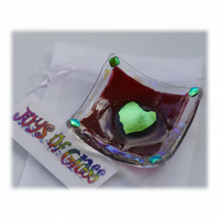 Earring Dish Fused Glass 6cm  003 Cranberry Dichroic Heart