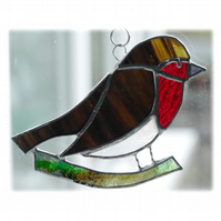 Robin Suncatcher Stained Glass British Bird Handmade 008 Right
