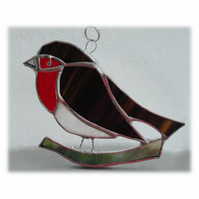 Robin Suncatcher Stained Glass British Bird Handmade 007 Left