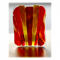 Candle Holder Fused Glass Tea-light Red Flare 002 Dichroic