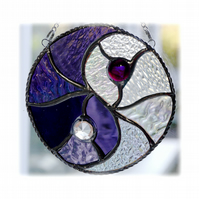 Yin Yang Suncatcher Stained Glass Handmade Purple 008