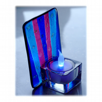 Candle Holder Fused Glass Tea-light  Blue Flare 003 Dichroic