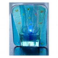 Candle Holder Fused Glass Tea-light  Turquoise Flare 004 Dichroic