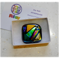 Brooch Dichroic Fused Glass 040 Abstract Handmade