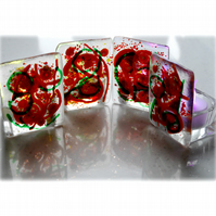 Candle Holder Fused Glass Tea-light  Red Green Swirls