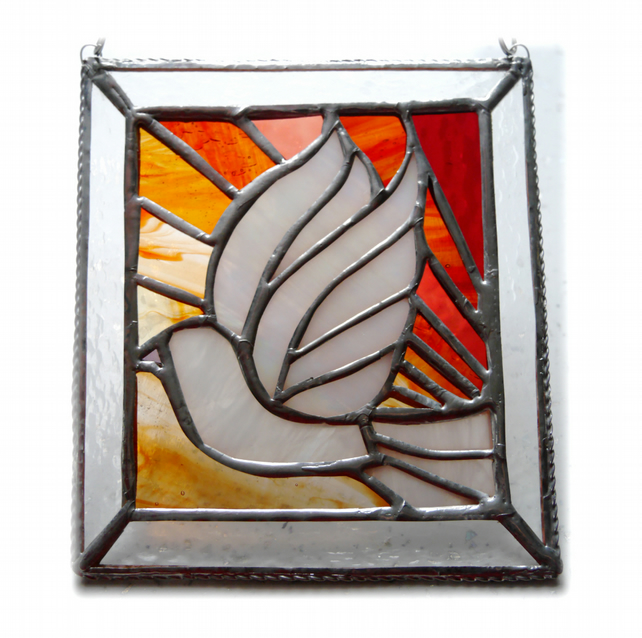 Sunset Dove Stained Glass Picture Suncatcher Handmade 008