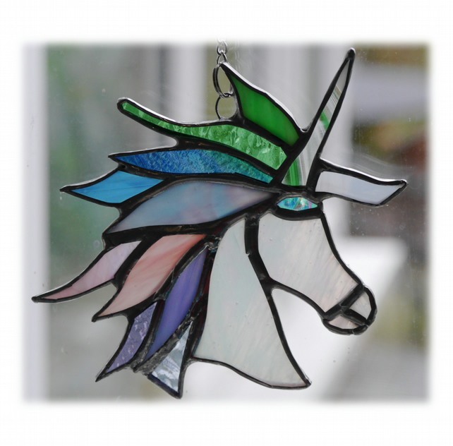 Unicorn Suncatcher Stained Glass Handmade Pastel 015 Floss