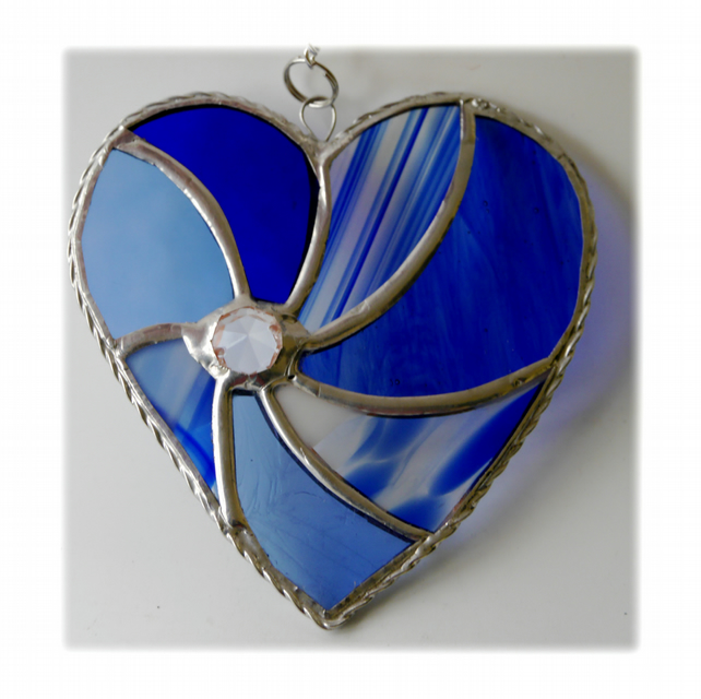 Blue Heart Swirl Stained Glass Suncatcher 029