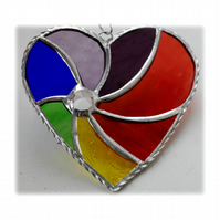 Rainbow Swirl Heart Stained Glass Suncatcher 027