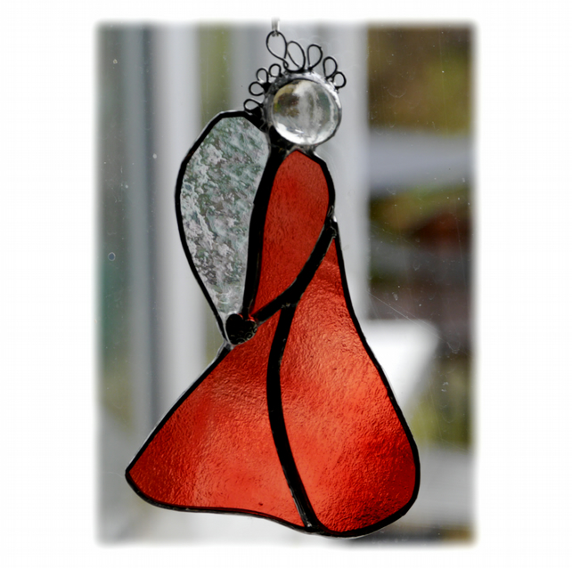 0270b25c0c44 Angel Suncatcher Stained Glass Heart Coral Red - Folksy