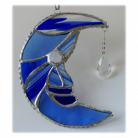 Moon Star Stained Glass Suncatcher Blue