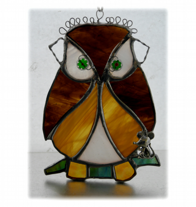 Owl and Mouse friend Suncatcher Stained Glass Handmade Bird 028