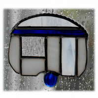 Caravan Suncatcher Stained Glass Mini Blue 030