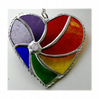 Rainbow Swirl Heart Stained Glass Suncatcher 028