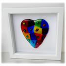 Rainbow Patchwork Heart in Box Frame Fused Glass Picture 004