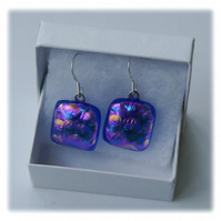 Handmade Fused Dichroic Glass Earrings 222 Blue bubbles